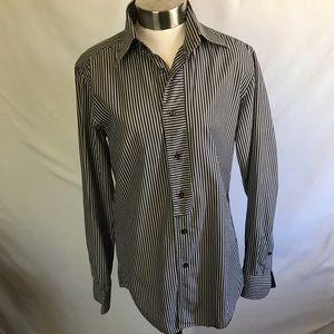 Zara Basic Stripe Slim Fit Long Sleeve Button